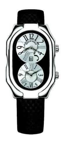 Philip Stein - 12-VBW-MMB - Montre Mixte - Quartz Analogique - Cadran Blanc - Bracelet Cuir Noir