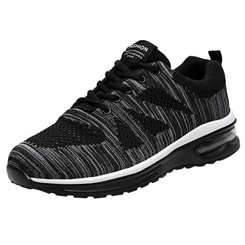 HDUFGJ Unisex Sneaker Atmungsaktiv Fliegendes Weben Verschleißfest Laufschuhe FreizeitschuheOutdoor-Schuhe Bequem Mode Leichtgewicht Faule Schuhe Turnschuhe Fitnessschuhe 44(Dunkel grau)
