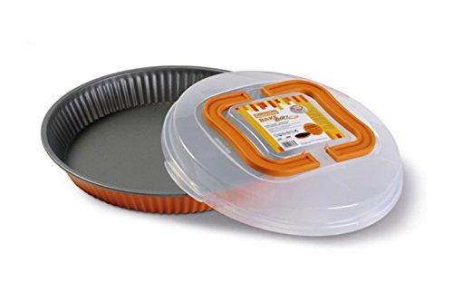 Guardini BAKE AWAY COLORS Moule à tarte 28 cm avec couvercle de transport Acier antiadhésif Orange Diamètre 28 cm