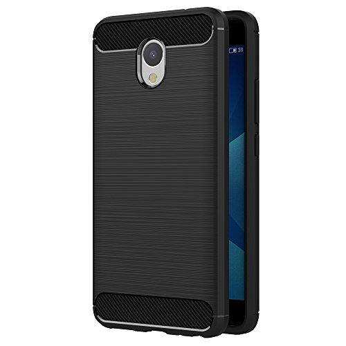AICEK Meizu M5 Note Hülle, Schwarz Silikon Handyhülle für Meizu M5 Note Schutzhülle Karbon Optik Soft Case