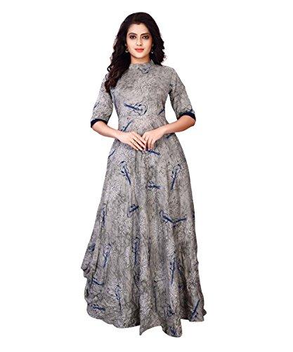 Fkart Women\'s Rayon Grey Digital Printed Stitched Stylish Party Wear Gown (Grey_Xl)