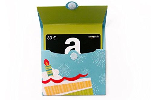 Amazon.de Geschenkkarte in Geschenkkuvert - 30 EUR (Geburtstagstorte) -