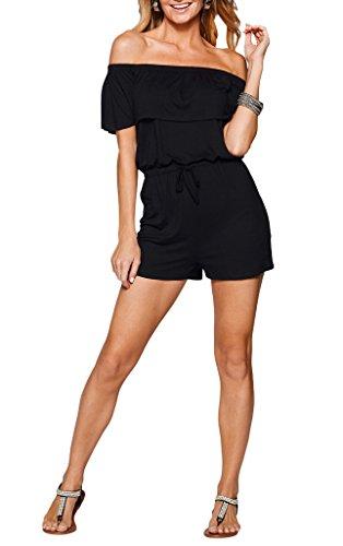 Bigood Femme Vogue Combinaison Cou Horizontal à Volants Couleur Uni Noir
