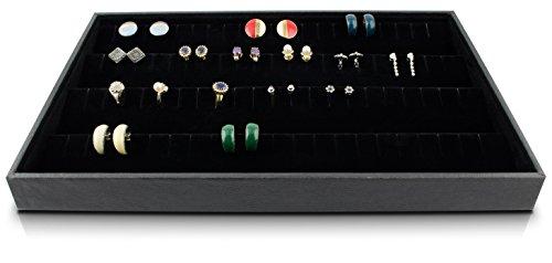 Schmucklade 4 Auslage Reihen - Schwarz ca. 35 x 24 x 4 cm - Schmuck Schaukasten Aufbewahrung & Präsentation - Grinscard