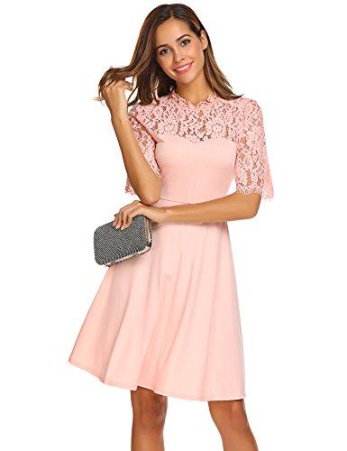 Damen Vintage Retro Spitzen Kleid Rundhals Halbarm Swing Abendkleid Cocktailkleid Hochzeit Festiches Kleid A-Linie Einfarbig Knielang Rosa 44