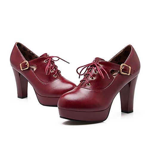 VogueZone009 Femme Couleur Unie Pu Cuir à Talon Haut Rond Boucle Chaussures Légeres Rouge