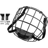 Baoblaze Escudo de Máscara de Jaula con Casco de Hockey Sobre Hielo de Acero Plano A3 con Accesorios - Negro