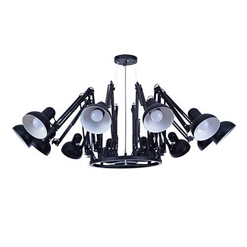 HOMECR Schwarze Spinne Kronleuchter Licht Retractable Arm Retro Industrie Lampe Kreative Bürokleidung Shop Bar Anhänger Beleuchtung 12 arm -