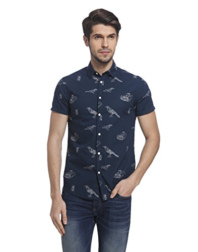 Jack & Jones Men's Casual Shirt (5713025580956_12108605_ Large_Navy Blazer)  available at amazon for Rs.1317