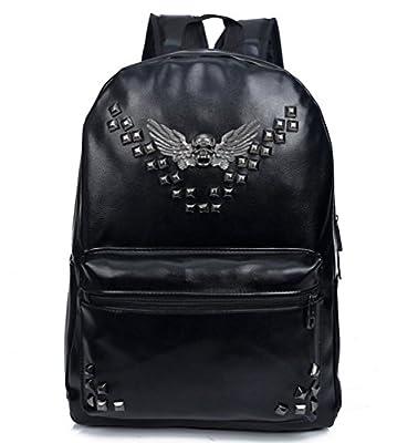Bromeo Super Cool Leather Skull Angel Wings Remaches suave Pu Mochila Viajes Escuela de hombro informal bolso de los bolsos