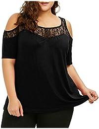 Camisetas de mujer tallas grandes ❤ XL ~ 5XL, LILICAT® 2018 Camisa de corte de escalera de moda sexy con purpurina Blusa de cuello alto…