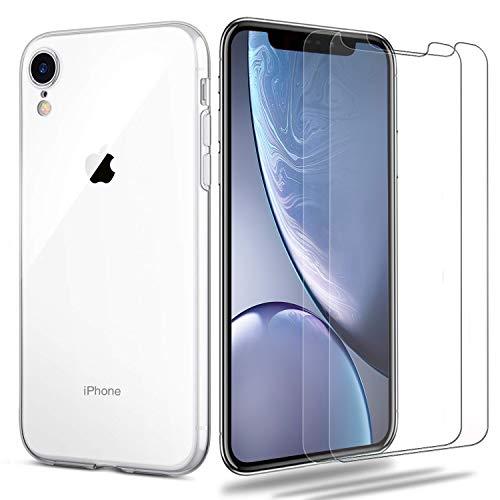 iPhone XR Hülle + Panzerglas Set, [1 Hülle + 2 Panzerglas] iLiebe Schutzhülle Schutzfolie Folie Glas TPU Silikon Case Cover Tasche Schale Weiche Transparent Crystal für iPhone XR -