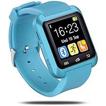 UxradG Sport U8 - Pulsera inteligente con podómetro, Bluetooth, recordatorio de llamadas, cámara remota para smartphones Android e iOS, 0.02, color azul claro
