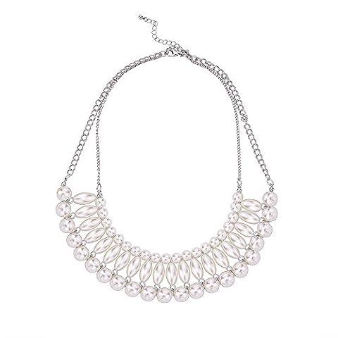 Lureme® style élégant millésime ton argent collier blanc grand pendentif perle simulée (01003068)
