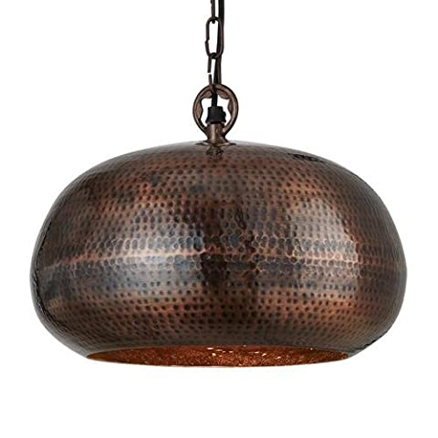Searchlight 2094-32BZ Antique Bronze Hammered Single Lamp Ellipse Pendant Ceiling Light with Suspension