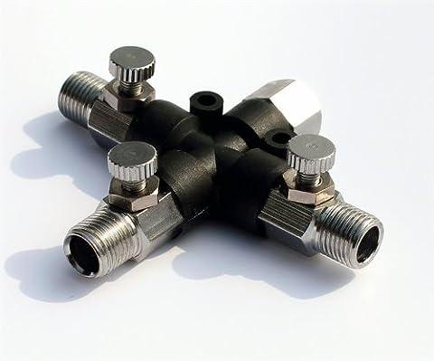 Schwarz Freitag Sales Abest Airbrush Schlauch Gelenk 3Way Air Klinkenbuchse Fitting 1/20,3cm mit einstellen Knopf, (5 Valve Manifold)