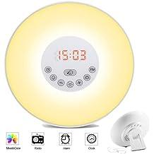 Wake up light, Kaifire Lámpara de alarma con función de repetición despertador y FM Radio Despertar de luz LED Simulador de Aurora y el Crepúsculo de despertador Luz