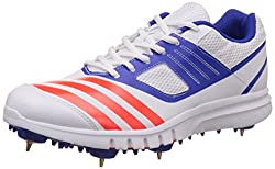 Adidas Mens Howzatt Spike White, Red and Blue Cricket Shoes - 11 UK