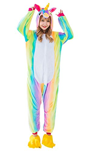 Leapparel Einhorn Pyjama Tieroutfit Tierkostüme Schlafanzug Tier Onesize Sleepsuit mit Kapuze Erwachsene Unisex Fleece-Overall Kostüm festival (Halloween Kapuzen Kostüme Fleece)