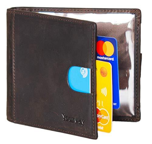 Portafoglio Uomo Vera Pelle Blocco RFID fermasoldi, Piccolo Portafogli tessere tascabile documenti, Porta Carte Di Credito, finestra Di ID. Portafoglio confezione regalo - Marrone