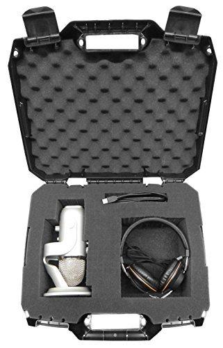 Casematix Studiosafe Micro et d'enregistrement d'équipement de transport Coque rigide avec mousse personnalisable–Compatible avec Bleu Yeti USB Micro avec écouteurs, filtre anti-pop, résistance aux chocs, support, pare-brise Mic Accessoires