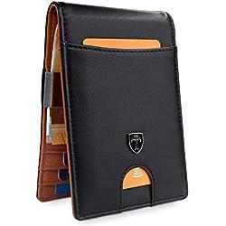 TRAVANDO ® Portefeuille avec Pince à Billets Rio Etui RFID Blocage Contre Piratage Bancaire - Mince Porte-Monnaie avec Clip en Métal - Porte-Carte de Crédit Sécurisé (Noir)