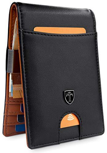 TRAVANDO  Geldbeutel mit Geldklammer Rio - TÜV geprüft - Slim Design - 7 Kartenfächer - RFID Schutz - Ohne Münzfach - Das Original - inklusive Geschenk Box - Designed in Germany, Slim, Schwarz -