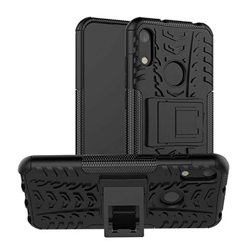 betterfon | Huawei Y6 2019 Outdoor Handy Tasche Hybrid Case Schutz Hülle Panzer TPU Silikon Hard Cover Bumper für Huawei Y6 2019 / Honor 8A Schwarz
