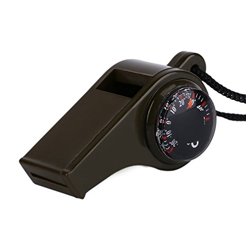 camillia-fr Durable Plastic -20-50 Degrees Celsius 3 in1 Olive Green Whistle Compass Thermometer for Outdoor Emergency Gear Camping