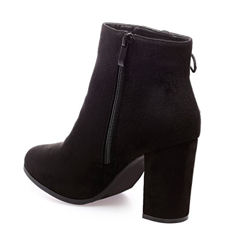 La Modeuse - Bottines à talon carré en simili daim Noir