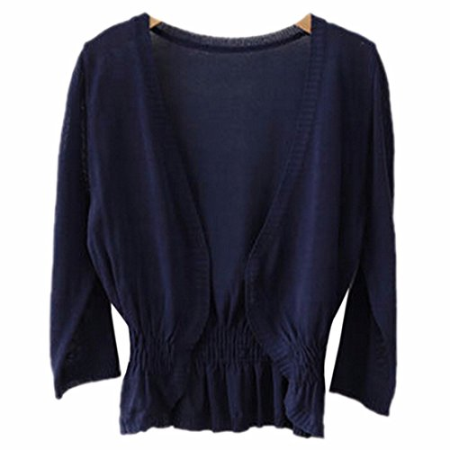 Femmes Manches Demi Slim Mode Cardigan Knit Tops Tricots Coat Jacket Outwear Marine