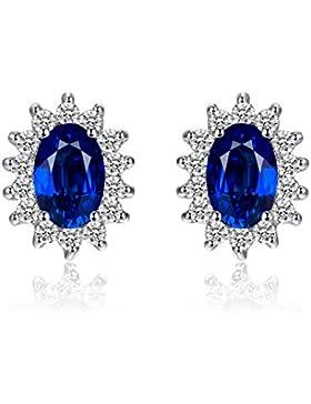 Jewelrypalace 2.5ct Luxus Prinzessin Damen Blau Synthetisch Saphir Ohrringe Ohrstecker 925 Sterling Silber
