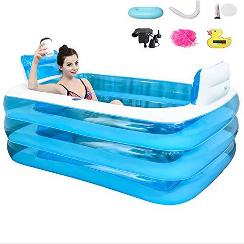 Fengnannan Faltbare aufblasbare Badewanne, PVC, DREI Fußboden Portable verdickte Wannenbadewanne für Erwachsene, Badefassplastik, Badepoolkinderschwimmbad mit elektrischem Luftpumpen-Gelage