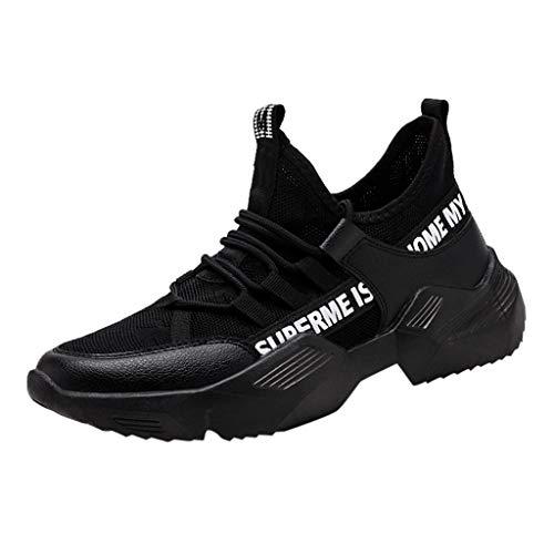 AIni Herren Schuhe,Sale 2019 Neuer Heißer Beiläufiges Mode Fliegen Weben le Laufschuhe Touristenschuhe Freizeit Sportschuhe Partyschuhe Freizeitschuhe(44,Schwarz) -