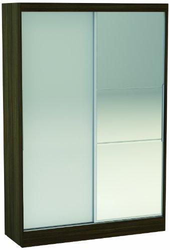 Birlea lynx - armadio con 2 ante scorrevoli e 1 specchio contemporaneo noce7bianco