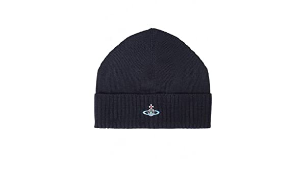 380966298f0 Vivienne Westwood Man Men s Accessory Navy Knitted Beanie Hat OS   Amazon.co.uk  Clothing