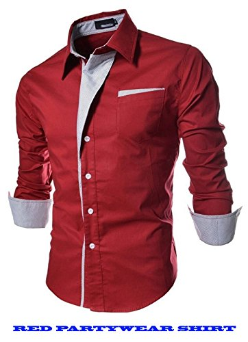 N T Fashion Red Partywear Fancy Shirt-L