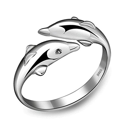 new-fashion-925-sterling-silver-double-dolphin-opening-adjustable-rings-gift-new