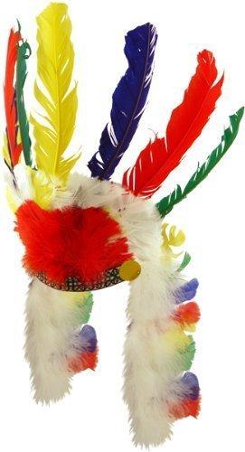 Uomini Donne Nativo Rossa Da Indiano Copricapo Di Piume Wild West Cowboy Costume Travestimento Hat - Rosso, One Size