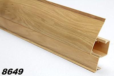 2 Meter PVC Sockelleiste Modern, Fußleiste, Kabelkanal, Sockel 23x65mm, 8649