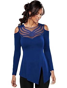 WanYang Donna Pizzo Irregolare Maglia Manica Lunga Maglietta Alta Colletto Bluse Lace T-shirt Camicia Camicetta...