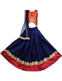 New Creation Girls Lehenga Choli Ethnic Wear Embroidered Lehenga, Choli And Dupatta Set(Blue, Pack Of 1)