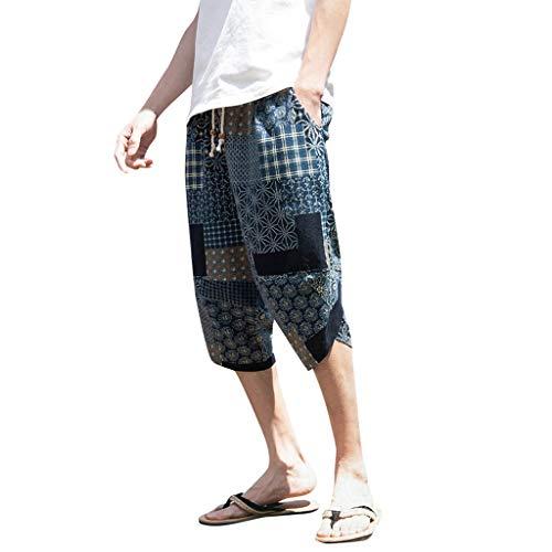 MOTOCO Herren Gedruckt Shorts Herren Sommer Harem Hosen Csual Taschen Nationalen Wind Weites Bein Overalls Sporthosen Sommer Lose Strand Kurze ()