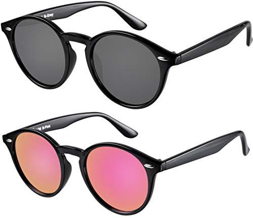 La Optica UV 400 Damen Frauen Retro Runde Sonnenbrille Round - Doppelpack Glänzend Schwarz (Gläser: 1 x Grau, 1 x Pink Rosa verspiegelt)