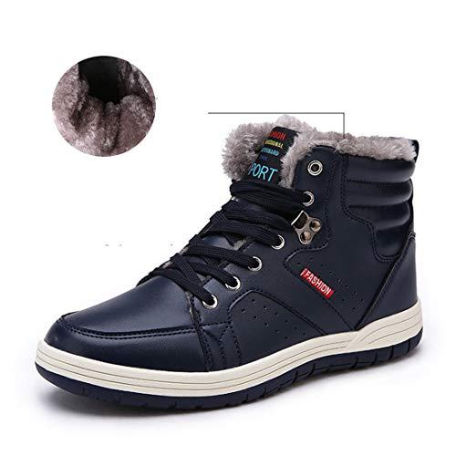 Laiwodun Chaussures de sport pour homme Bottes Chaussures de neige Chaussures chaudement en cuir Doublure en fourrure de loisirs Randonnée Bottes hautes de patinage (blue 43)