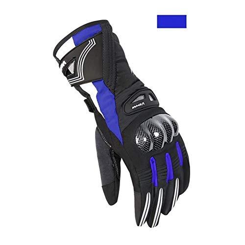 Kiiya-Auto Guanti Moto spessore caldo impermeabile antivento Moto Equitazione Rider anticaduta corse off-road (Color : Blue-XL)