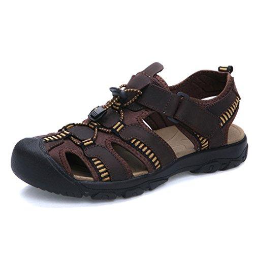 Men Handmade Retro Style Flip Flops Summer Soft Genuine Leather Classics Sandals Dark Brown