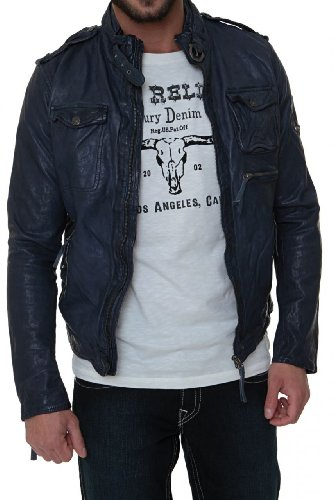 True Religion Herren Lederjacke BIKER LEATHER JACKET BLUE, Farbe: Dunkelblau, Größe: S