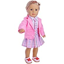 Hkfv 4PC Superb Funny American Dolls Decor design Amazing American Dolls Suiting vestito uniforme outfit for 45,7cm American Girl Doll Pink