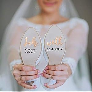 """Individualisierbare Schuhaufkleber """"Ich will"""" rosegold"""